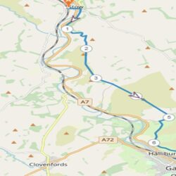 Sketch map showing walk between Stow and Gala