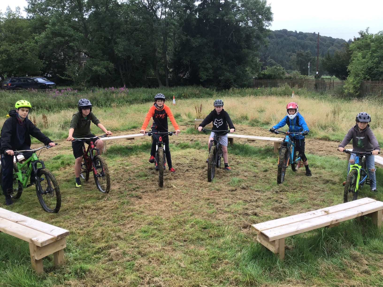Photograph of stow bikers on proposed pump track site
